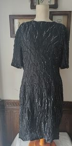 Vtg STENAY Blk Silk Chiffon Sequin Beaded Dress